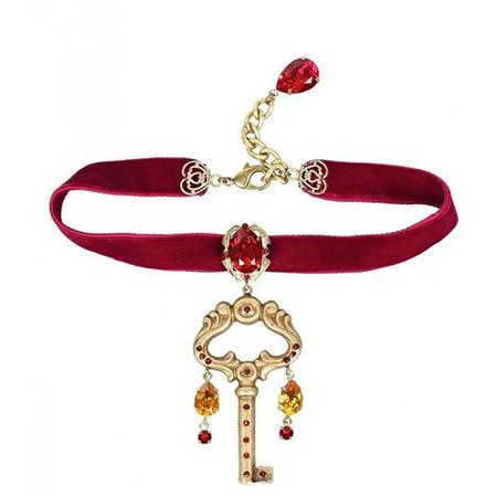 Red-Velvet Choker Necklace Gold-Key Pendant (Dolce and Gabbana)