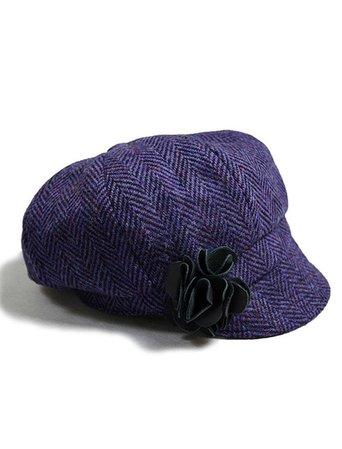 Ladies Tweed Newsboy Hat - Dark Purple | Mucros Weavers