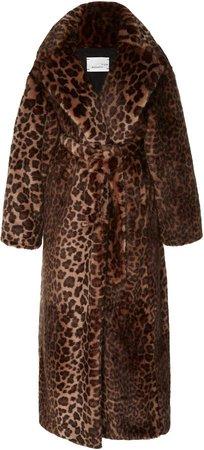 Long Leopard-Print Faux Fur Coat