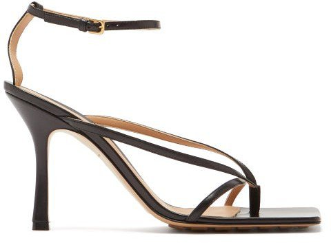 Squared Open-toe Leather Sandals - Black