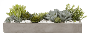 Concrete Trough with Mixed Succulents and Rocks AR1030 – Replica Plants and Decor
