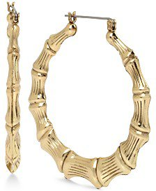 Macy's 10k Gold Hoop Earrings, Small Bamboo Jewelry & Watches - Earrings - Macy's