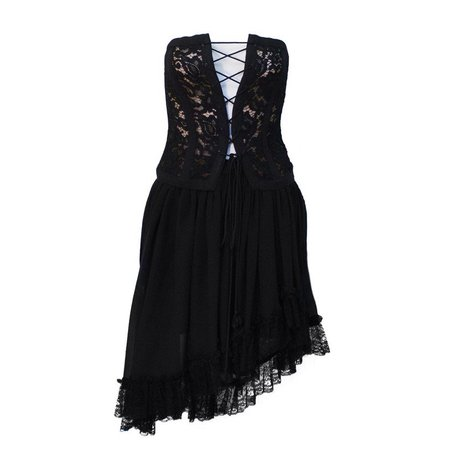1980s Yves Saint Laurent YSL Rive Gauche Black Lace Corset and Chiffon Skirt For Sale at 1stdibs