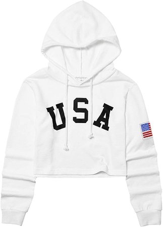 American Flag Cropped Hoodies for Women Crop Top Teens Workout White at Amazon Women's Clothing store