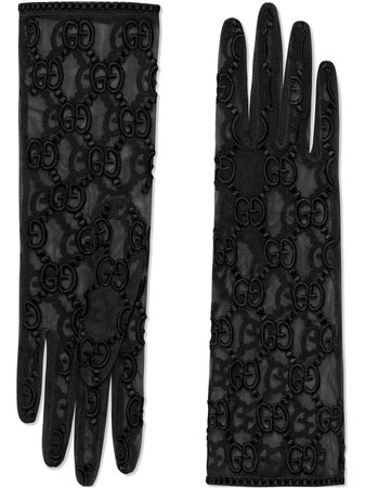 Gucci Tulle Gloves With Gg Motif 5396453SB32 Black | Farfetch