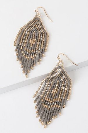 Grey and Gold Earrings - Beaded Earrings - Beaded Tassel Earrings