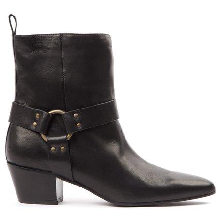 Marc Ellis Black Leather Buckled Ankle Boots