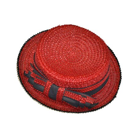 """Yves Saint Laurent Red White and Blue """"Bow"""" Straw Hat For Sale at 1stdibs"""