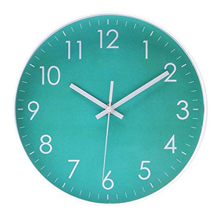 Epy Huts Modern Simple Wall Clock Indoor Non-Ticking Silent Sweep Movement Wall Clock for Office,Bathroom,Livingroom Decorative 10 Inch Teal: Home & Kitchen