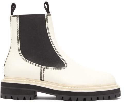 Tread Sole Leather Ankle Boots - Womens - White Black