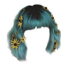 teal blue hair png polyvore - Google Search
