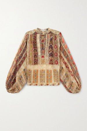 Beige Floral-print silk-crepon blouse | Etro | NET-A-PORTER