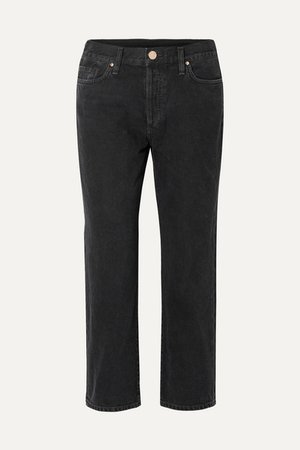 The Low Slung Cropped Mid-rise Straight-leg Jeans - Black
