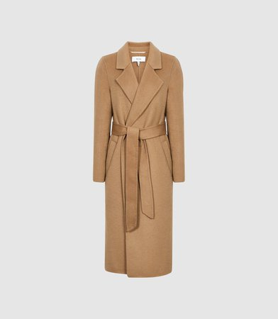 Brooks Camel Wool Blend Longline Overcoat – REISS
