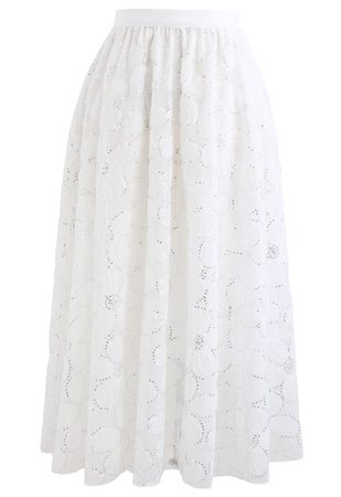 Floral Sequin Double-Layered Mesh Skirt in White - Retro, Indie and Unique Fashion