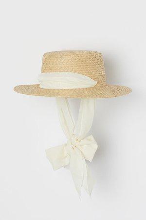 Chin-tie Straw Hat - Beige