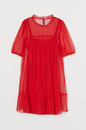 Puff-sleeved dress - Red