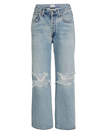 Citizens of Humanity Elle Distressed Wide-Leg Jeans | INTERMIX®