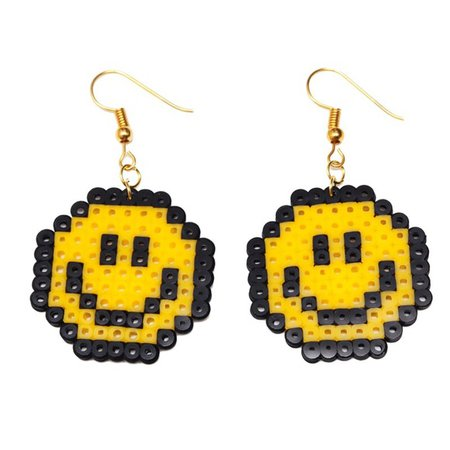 Jewelry | Yellow Smiley Face Pixel Style Earrings | Poshmark