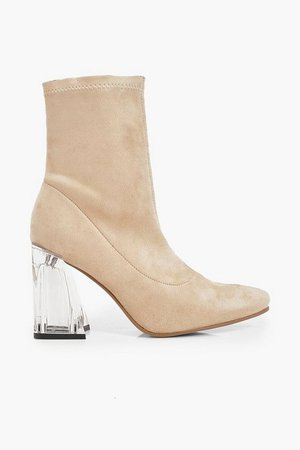 Clear Flare Heel Sock Boots | Boohoo nude