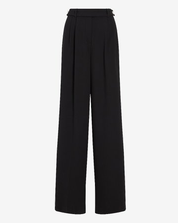 High Waisted Button Tab Wide Leg Pant