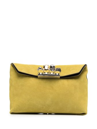 Shop yellow Alexander McQueen Skull clutch bag with Express Delivery - Farfetch