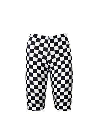 checker print bike shorts