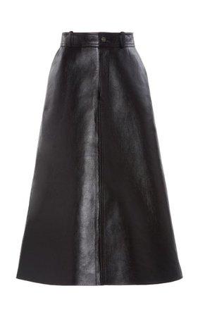 Leather A-Line Midi Skirt By Balenciaga | Moda Operandi