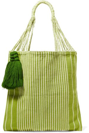 Nannacay | + NET SUSTAIN Bianca tasseled striped crocheted cotton-blend tote | NET-A-PORTER.COM