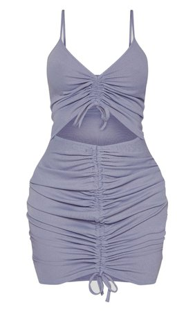 Shape Dusty Blue Ribbed Ruched Cut Out Bodycon Dress   PrettyLittleThing