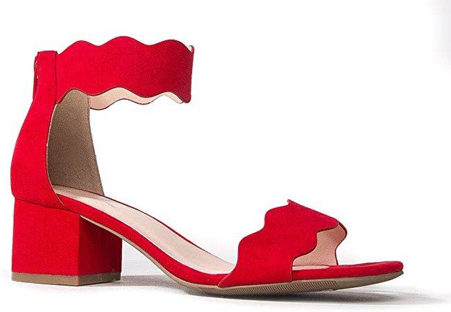 J. Adams Open Toe Ankle Strap Sandal, Red Suede