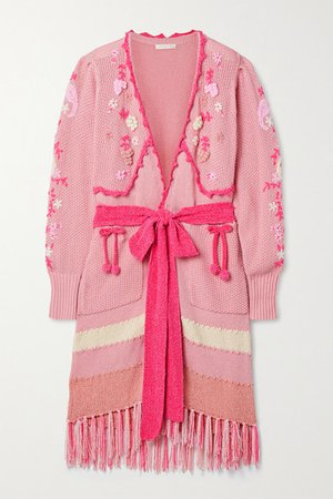 Camden Fringed Embroidered Knitted Cardigan - Blush
