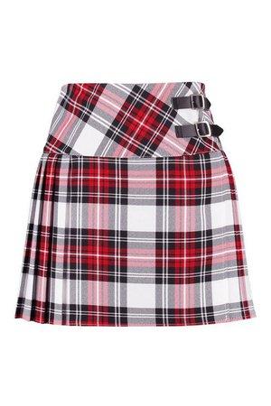 Buckle Detail Tartan Check Pleated Kilt Woven Skirt | Boohoo