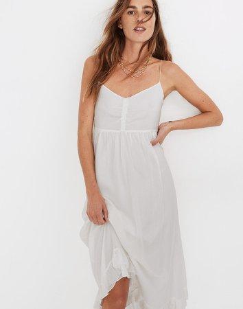 Silk Ruched Ruffle-Hem Midi Dress