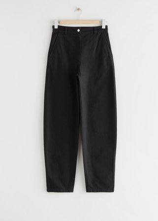 Banana Leg Cotton Trousers - Black - Trousers - & Other Stories