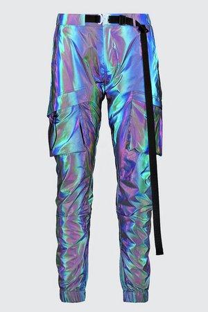 Rainbow Reflective Cuffed Cargo Buckle Jogger | Boohoo