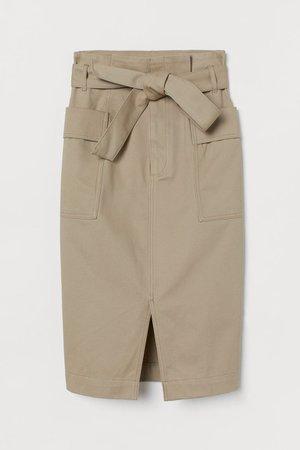 Paper-bag Skirt - Beige - Ladies   H&M US