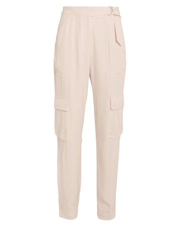 Belted Sateen Cargo Pants