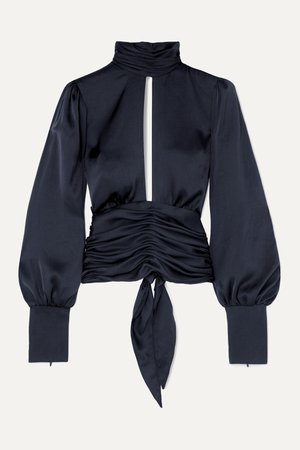 Navy Night Out open-back ruched satin blouse   Orseund Iris   NET-A-PORTER