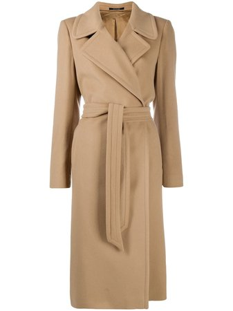 Shop Tagliatore long sleeve belted trench coat with Express Delivery - Farfetch