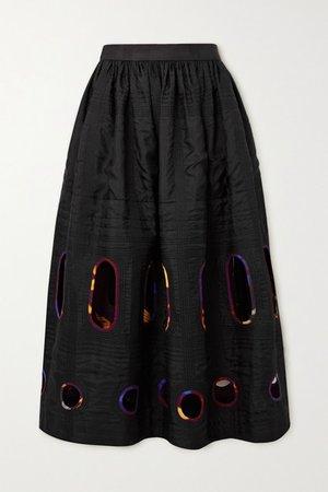 Cutout Silk And Cotton-blend Midi Skirt - Black