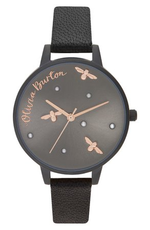 Olivia Burton Pearly Queen Leather Strap Watch, 34mm | Nordstrom