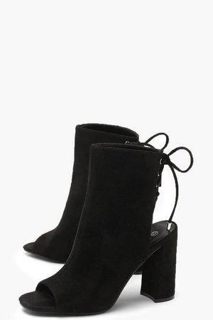 Lace Back Block Heel Shoe Boots | Boohoo