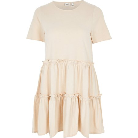 Beige tiered frill T-shirt smock mini dress | River Island