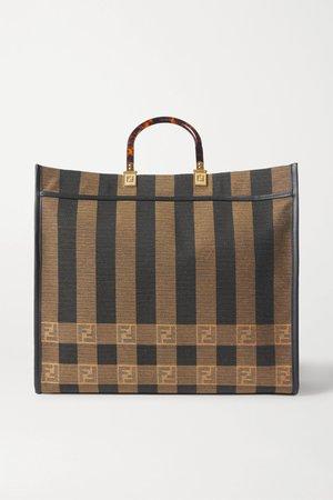 Brown Sunshine Shopper leather-trimmed canvas tote | Fendi | NET-A-PORTER