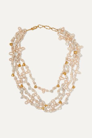 Gold + Pach Tach gold-plated pearl necklace | Pacharee | NET-A-PORTER