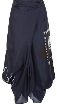 Thanks Girls Wrap-effect Printed Silk-satin Twill Pants