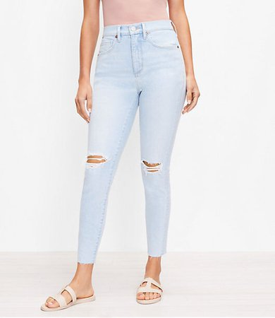 The Curvy Destructed High Waist Skinny Ankle Jean in Bleach Out Wash