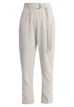 Oasis PINSTRIPE PEG LEG - Trousers - off-white/black - Zalando.co.uk