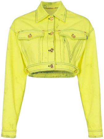 Versace cropped boxy denim jacket £1,180 - Shop Online - Fast Global Shipping, Price